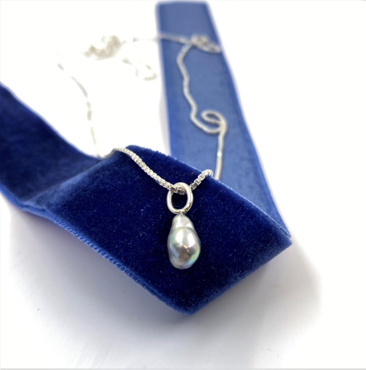 akoyapärla, blå pärla, silverhängsmycke
