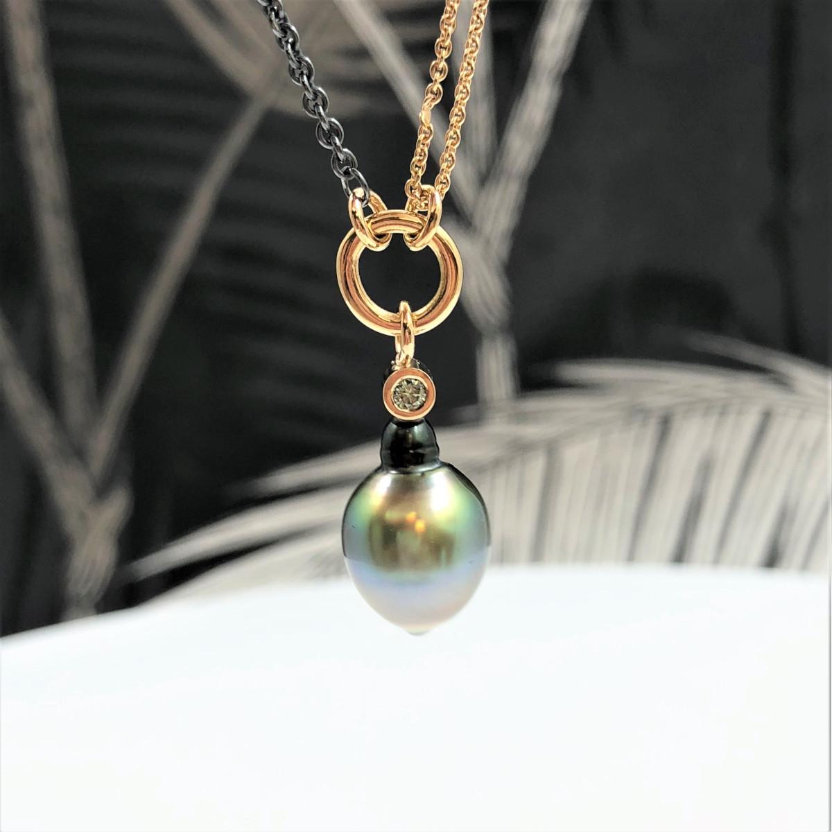 Halsband,fidjipärla, gröna pärlor, gröna diamanter