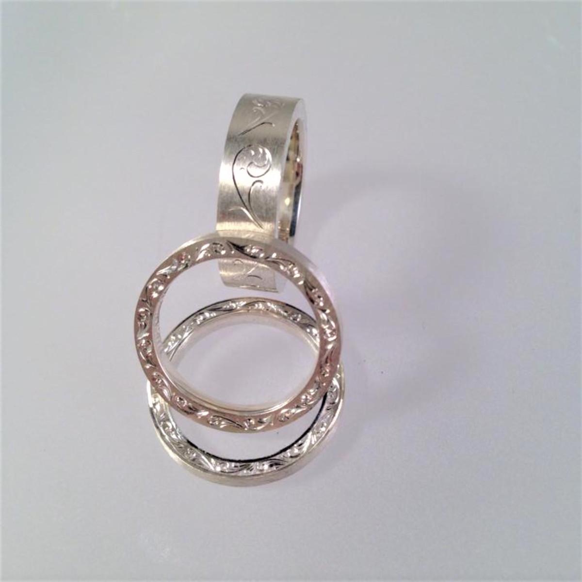 Silverringar, handgravyr, handgjorda ringar