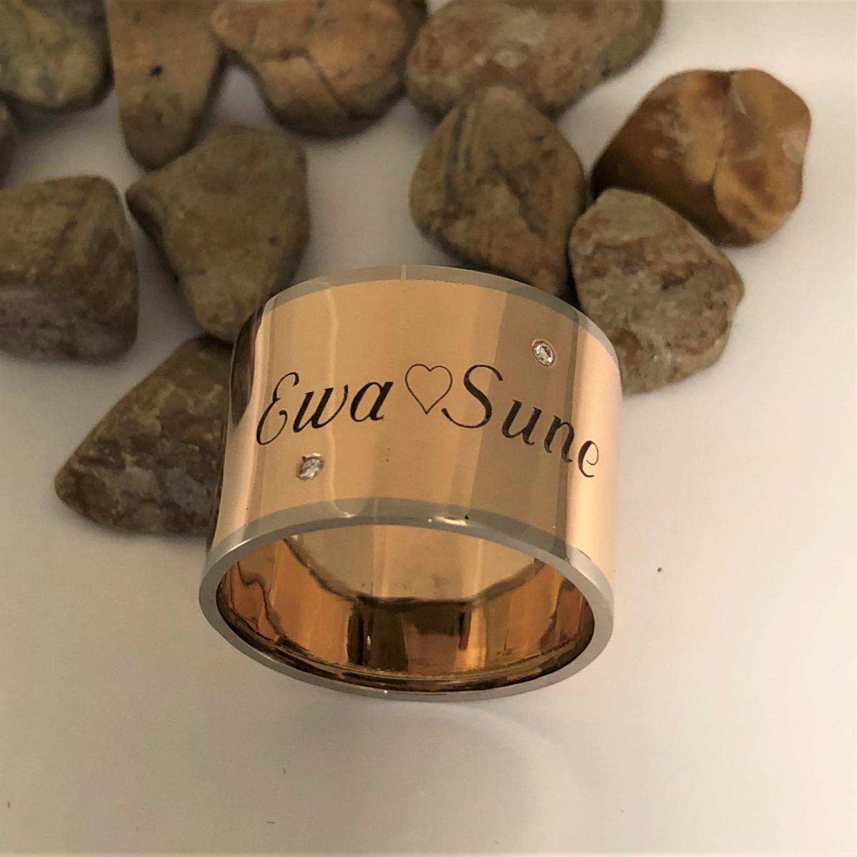Namnring, tvåfärgad ring, bred ring